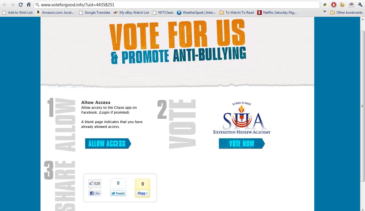 Chase Cheating Part II: Vote for Schools and promote anti-bullying